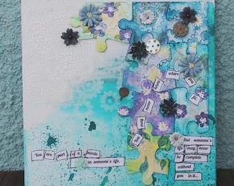 Puzzle Pieces Mixed Media Canvas