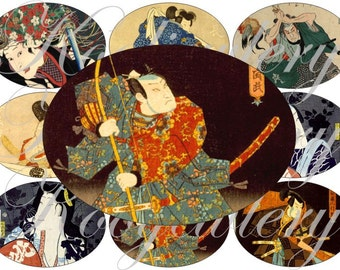 Samurai images large oval for belt buckle and more digital collage sheet No.1632