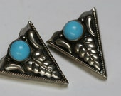 Vintage Silver Tone Metal and Turquoise Glass Stone Collar Tips - Southwestern Design
