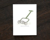 Thank you Greeting Card - Thanks for the Reel Hard Work - Vintage - Lawn Mower - Old School - Man - Dude - Guy - Yard - Landscape (TY215)