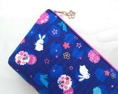 Sakura & Bunny Cosmetic Purse / Zipper Pouch - Indigo