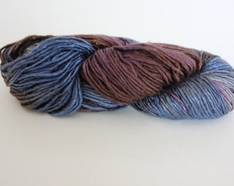 Blue, Burgundy, Brown Hand spun Pure Silk YARN/ From A grade Mulberry Silk Tops, Silk Yarn Single Ply Fingering Weight Icelandic Silk yarn