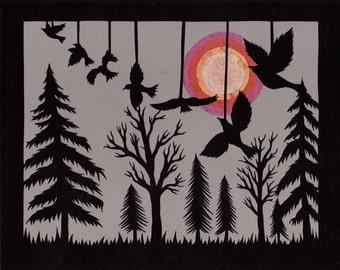 Seven Ravens - 8 x 10 inch Cut Paper Art Print