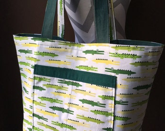 Large Reversible Alligator Tote Bag