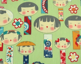 2667C -- Kawaii Kokeshi Doll Fabric in Mint Green, Japanese Doll Fabric