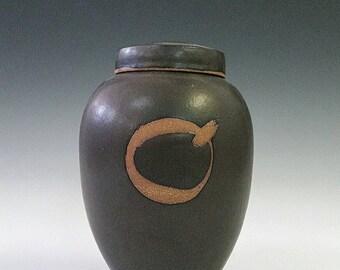 Ceramic Urn, Pet Urn. or Keepsake Urn Black Glaze and Brown Stoneware Urnfor Cremation