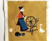 Danish Napkin Quilt Square Hans Christian Andersen Story Spinning Wheel Textile Drink Coaster