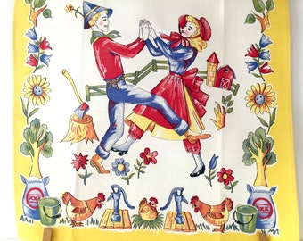 Vintage Kitchen Towel Farmer Wife Couple Chickens Barn Housewarming Gift