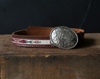 Leather Belt With Tribal Weave and Justin Buckle Silver Plated South West Style Vintage From Nowvintage on Etsy