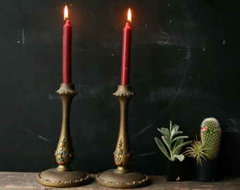Antique Candlesticks Pair of Wood and Plaster Candlesticks Gold Vintage From Nowvintage on Etsy