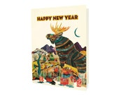 Dolan Moose Folded New Year Cards, Box of 10 - A Collaboration with Mixed Media Artist Dolan Geiman - Happy New Year - OC1182-BX