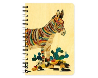 Dolan Burro Pocket Notebook -  A Collaboration with Mixed Media Artist Dolan Geiman - Real Birch Wood Jotter Notepad - J1755