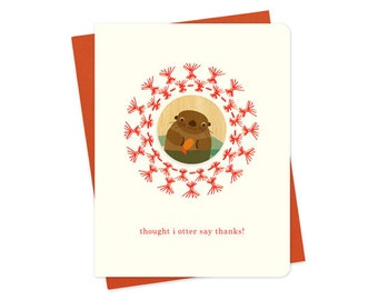 straw otter thank you card - thought i otter say thanks - wood + letterpress - wood embellished letterpress card - hybrid card - H1411