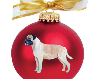 Bullmastiff Dog Hand Painted Christmas Ornament - Can Be Personalized with Name