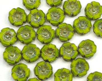 Hibiscus Flowers 12mm Satiny Lime Green Picasso Czech Glass Beads - 12
