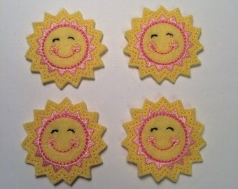 Happy Sun Smiley Yellow Pink Sunshine Embroidered Felt Applique