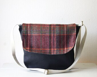 Upcycled Recycled Bag. Cotton Canvas Purse. Messenger Crossbody Purse. Wool Messenger Bag. Messenger Bag for Women. Bag Satchel.