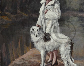 Borzoi Hound 11x14 print from painting sold by artist