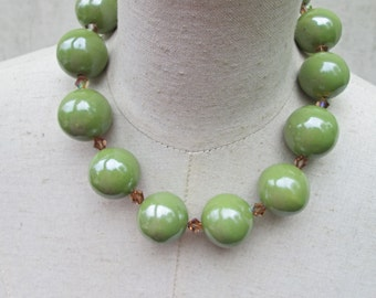 Huge Chunky Safari Green Brown Crystal Beaded Necklace,  Camouflauge Statement Beads