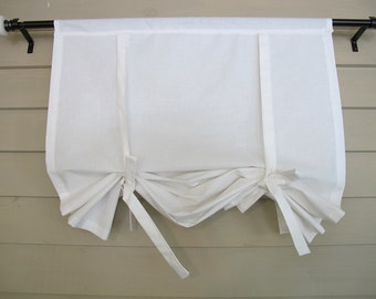 White Cotton 36 Inch Long Stagecoach Off White Roll Up Swedish Blind Window Shade Tie Up Curtain Swag Balloon
