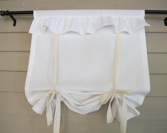 Ruffled Off White Canvas 48 Inch Long Tie Up Shade Custom Made to Order Tie Up Curtain Swag Balloon