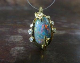 Opal pendant. 18k yellow gold opal necklace. Opal leaf pendant.  Opal diamond pendant. Ready to ship.