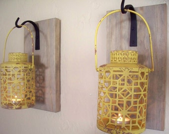 Rustic yellow lantern pair on weathered gray boards (2), wall decor,  wall sconces, housewarming gift, wrought iron hook, rustic wood boards