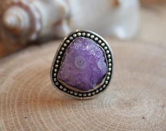 OAK One of a kind  Violet Druzy solar Quartz Gemstone .925 Sterling Silver filled bezel Statement Ring size US 7  D6