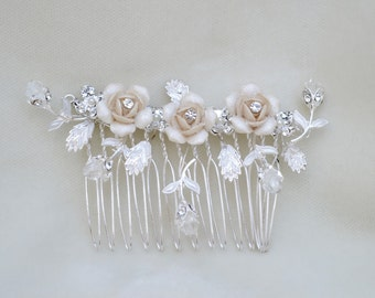 Bridal Crystal And Flower Hair Comb / Victorian Bridal Hair Comb / Holiday Hair Comb / Downton Abbey Flower Hair Comb