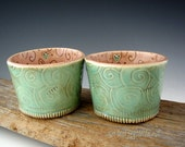 Pottery Cups in Mint and Pink with Swirls and Hearts - Small Dessert Bowl - Snack Cup -  by DirtKicker Pottery