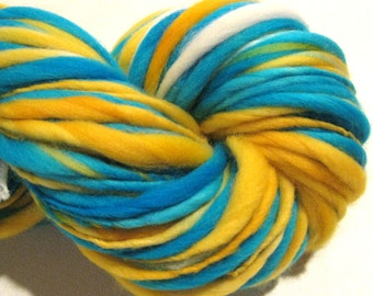 Handspun Yarn Smooth Sailing 140 yards hand dyed merino wool yellow white blue yarn waldorf doll hair knitting supplies crochet supplies