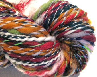 Handspun Yarn Waste Not Want Not D 140 yards rainbow yarn knitting supplies crochet supplies waldorf doll hair