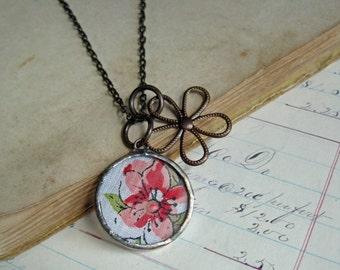 Vintage Hanky Flower Necklace Romantic Jewelry Gift One of a Kind