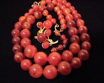 Vintage Marble Red BAKELITE Double Strand Necklace & Earrings Set