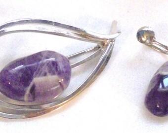 Vintage Amethyst Quartz Silver tone Pin and Screw back Earrings