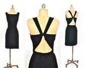 1960s dress / black cutout dress /  Mr Mort 60s dress .. xs