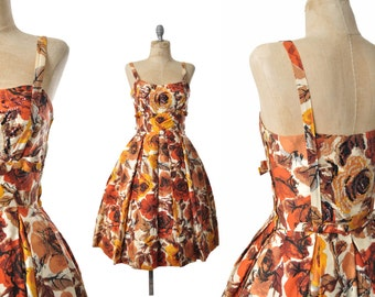 vintage 50s dress / Autumn Rose 50s party dress / 1950s dress .. xs-small