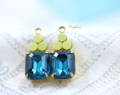 Set Stones Vintage Octagon Stone and Swarovski Crystals 1 Ring Brass Settings Earring Charms 19x8mm Blue Zircon & Yellow Opal - 2