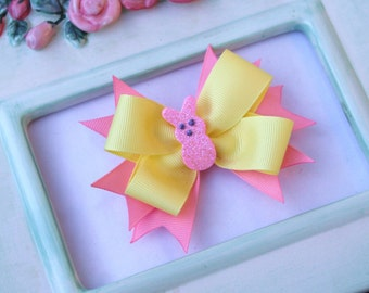 Pink and Yellow Easter Peep Bow Clip Photograpy Prop