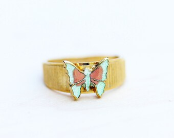 Gold and Green Vintage Butterfly Ring - Size 6
