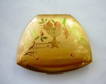 Elgin American Art Deco Urns Flowers Three Tone Engraved Brushed Goldtone Compact Hidden Compartment
