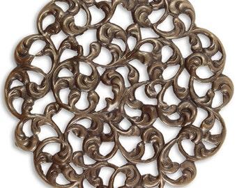Round Layering Filigree, Brass Filigree, Vintaj Natural Brass F024, Designer Series
