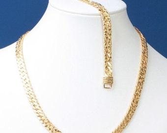 CIJ Sale Gold Tone Necklace Bracelet Set Textured Herringbone Link Vintage