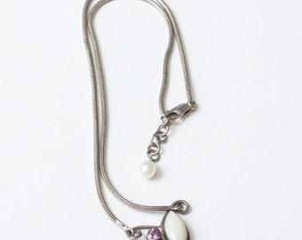 CIJ Sale Amethyst MOP Cultured Pearl Necklace Modernist Sterling Vintage