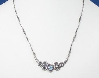 Blue Topaz Floral Design Necklace Sterling Hallmarked Birmingham England Vintage