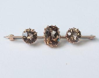 14K Gold Bar Pin Smoky Quartz  Victorian Brooch Antique