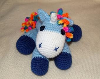 Baby unicorn crochet toy
