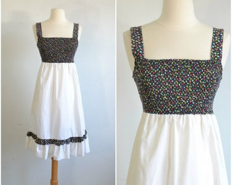 70s Vintage Hippie Sun Dress - Smocked Bodice and Empire Waist - Fruits and Flowers Blue Calico - Extra Small to Small