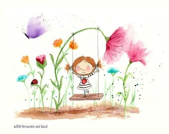 DAISY - Little Girl on a Swing with Flowers - Art Print