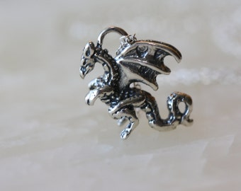 Flying Dragon, Game Of Thrones fan, Silver 3D Charm Necklace, Flying Dragon Charm, Birthday Gift for Wife, for Sister, for best friend